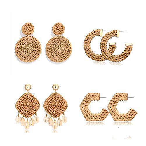 YAHPERN Rattan Earrings for Women Girls Handmade Lightweight Wicker Straw Stud Earrings Statement Weaving Braid Drop Dangle Earring (4pair)