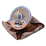 7 Keys Hand Painted Coconut Shell Kalimba Handcrafted African Mbira Sanza Thumb Piano Finger Piano Metal Tines Kids Musical Instrument Gifts for Music Lover Beginners