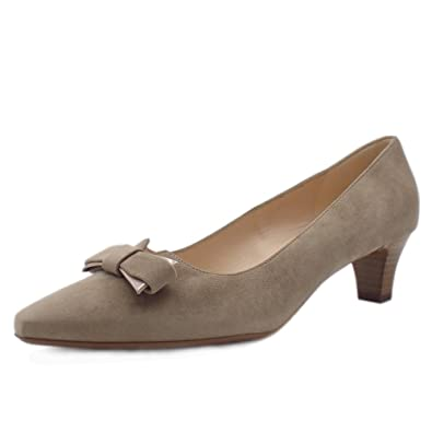 5b06c16784d Peter Kaiser Saris Wide Fit Court Shoes with Bow in Taupe Suede 8 Taupe  Suede