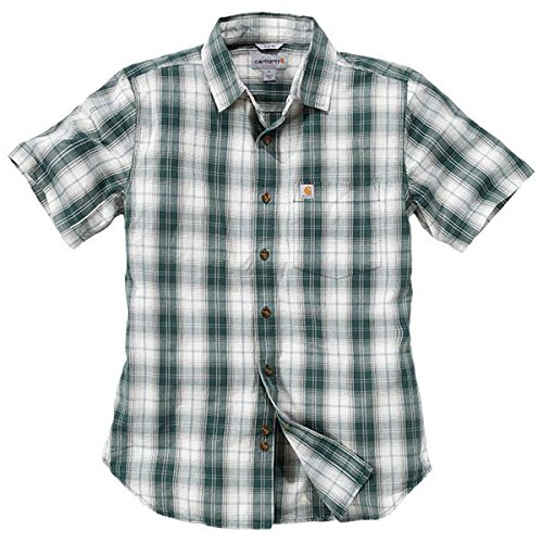 Green Chest Pocket Slim Cotton Shirt 100 Fit Mens Short Sleeve Carhartt Hunter PTxZw7