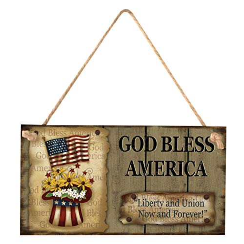COLNER American 4th of July occasion Chic Wooden Formal Sign Wall Plaque Hanging Home Decoration for Wall or Door,Gift Sign (God Bless America, Multicolor_A)]()