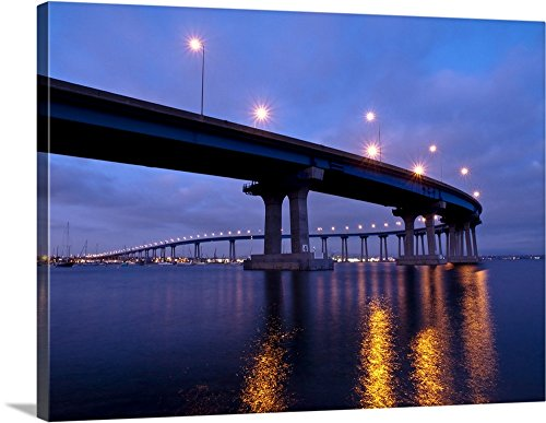 greatBIGcanvas Gallery-Wrapped Canvas entitled California, San Diego, Coronado Bridge curves over San Diego Bay by Ann Collins 48