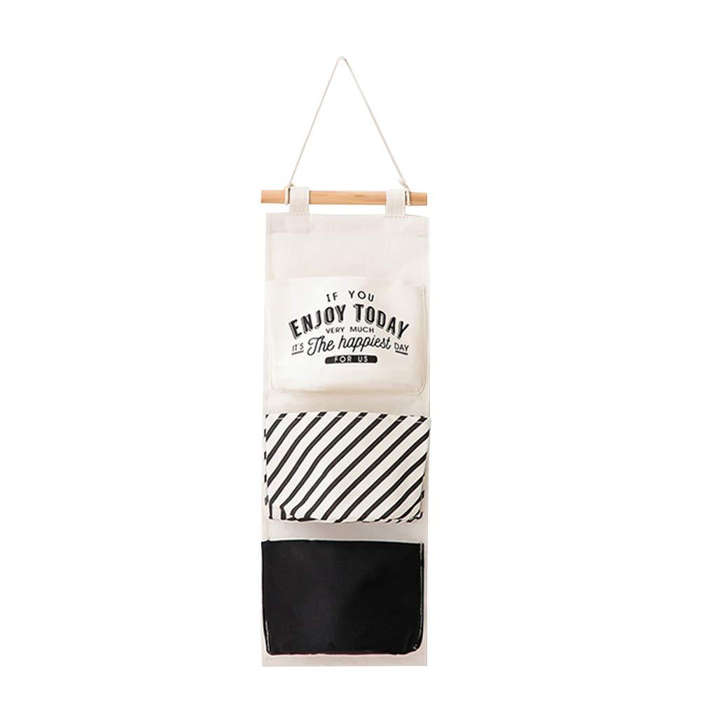 Da.Wa Borsa da appendere a parete con 3 tasche, tasca porta oggetti, appesa borsa a righe, modello a righe, casa, dormitorio, borsa portaoggetti da viaggio in cotone e lino 59x20 cm