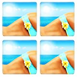 Liili Square Coasters Non-Slip Natural Rubber Desk Pads Beautiful female body on the beach conceptual image of vacation spa travel Photo 9972826