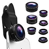 Phone Camera Lens Kit 9 in 1 Zoom Telephoto Lens+0.36X Wide Lens+0.63X Wide Lens+20X Macro Lens+15X Macro Lens+CPL+Kaleidoscope+Starburst+198° Fish Eye Lens Compatible with iPhone, Samsung, Smartphone