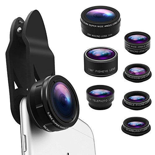 Phone Camera Lens Kit 9 in 1 Zoom Telephoto Lens+0.36X Wide Lens+0.63X Wide Lens+20X Macro Lens+15X Macro Lens+CPL+Kaleidoscope+Starburst+198° Fish Eye Lens Compatible with iPhone, Samsung,Smartphone