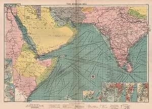 Gráfico de mar del Golfo Pérsico Rojo/Árabe. Portes Faro