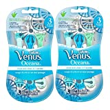 Gillette Venus Oceana Women's Disposable Razors - 3 Pack, Pack of 2 (Colors may vary)