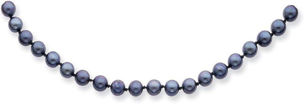 DIAMOND2DEAL INC Collar de Oro Blanco de 14 Quilates con Perlas de Akoya de Agua Salada de 5 mm, Color Negro