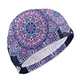 Smany Indian Floral Paisley Ornament Pattern Ethnic Mandala Kids Swim Caps,High Elasticity, No Deformation Use,UV Protection, Waterproof Comfy Swimming Bathing Cap for Short and Long Hair