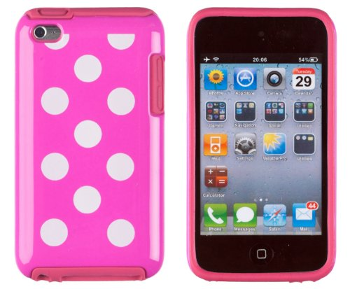DandyCase 2in1 Hybrid High Impact Hard Hot Pink Polka Dot Pattern + Hot Pink Silicone Case Case Cover For Apple iPod Touch 4 4G (4th generation) + DandyCase Screen Cleaner (Hard Ipod 4 Cases For Girls)