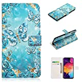 for Samsung Galaxy A50 Wallet Case with Card Holder,QFFUN Glitter 3D Pattern Design [Blue Butterfly] Magnetic Closure Leather Phone Case Stand Function Drop Protection Etui Bumper Flip Cover