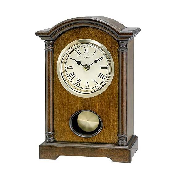 Bulova Dalton Chiming Pendulum Table Clock - Walnut Finish - Gold-Tone Accents - Walnut Finish Polished Goldstone Bezel Westminster Melody On The Hour - clocks, bedroom-decor, bedroom - 51DwvxlzmEL. SS570  -
