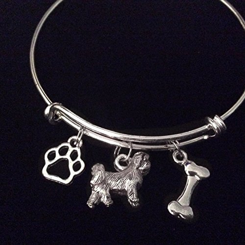 Shih Tzu Dog Paw Bone Expandable Charm Bracelet Silver Adjustable Wire Bangle Gift (Bone Shih Tzu)