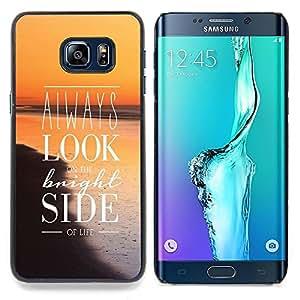 Jordan Colourful Shop - Look Bright Side Sunset Orange Positive Sea For Samsung Galaxy S6 Edge Plus - < Personalizado negro cubierta de la caja de pl??stico > -