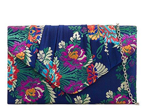 Women's Navy Flower Satin Kh2094 Clutch Ethnic Handbag Evening Ladies Purse Floral Bag qPSXgfx