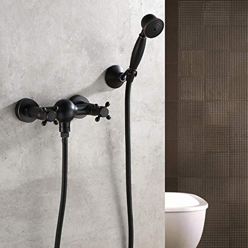 (Black Bronze, Spray Faucet, Bathtub Shower Faucet, European Retro Simple Shower)