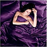 Satin 6 Pcs Silky Sexy Bedding Set Queen / King Duvet Cover Fitted Sheet & 4x Pillowcases 8 Colors (Purple, Queen)