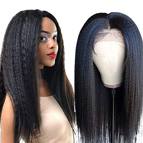 - Yaki Straight Lace FWig, VIPbeauty Yaki Human Hair Lace Front Wigs for Black Women 130% Density Brazilian Virgin Human Hair Glueless Lace Frontal Wig Pre Plucked with Baby Hair(12 Inch, Nature Color)