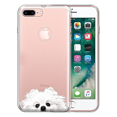 White Pomeranian - FINCIBO Case Compatible with Apple iPhone 7 Plus/iPhone 8 Plus, Clear Transparent TPU Protector Case Cover Soft Gel for iPhone 7 Plus / 8 Plus (NOT FIT iPhone 7/8) - White Teacup Pomeranian Puppy