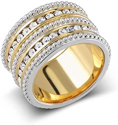 Gold Plated 5 Row Preciosa Crystal Stacking Ring