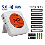 Digital Bluetooth Wireless Meat Thermometer, Instant Read Food Grill Thermometer for Grilling Oven Safe with 6 Stainless Steel Probes, for Cooking Smoking Kitchen Oven BBQ, iOS & Android APP Remote
