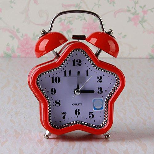 WarmFemme Creative  ly Décoration de Cadeau Beau Réveil Silencieux Pentagram avec veilleuse pour Les  s  s étudiants (Rouge)   Technologie Sophistiquée