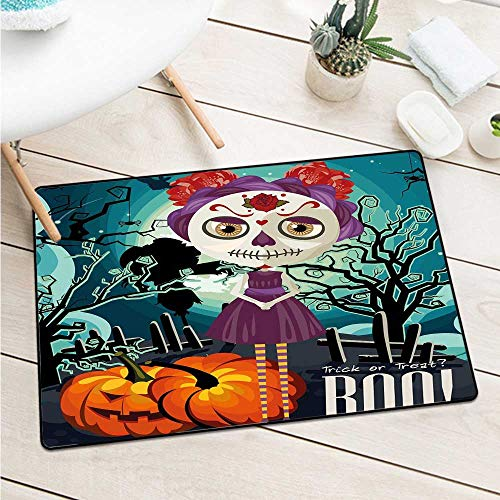 Custom&blanket Halloween Commercial Grade Entrance Mat Cartoon Girl with Sugar Skull Makeup Retro Seasonal Artwork Swirled Trees Boo Door Mat is Odorless and Durable (W29.5 X L39.4 inch,Multicolor)