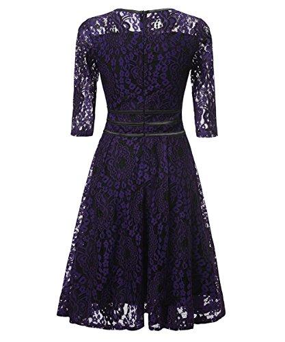 fiesta Purple elegante de de Vestidos Vintage fiesta mujeres vestidos vestido las Knielang Vestido largas noche de Vestido de de Vestidos Rockabilly Vestidos la de encaje de vendimia mangas cóctel Scothen w6xC1vq
