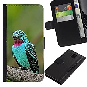A-type (Mint Green Bird Tropical Purple Feather) Colorida Impresión Funda Cuero Monedero Caja Bolsa Cubierta Caja Piel Card Slots Para Samsung Galaxy Note 3 III