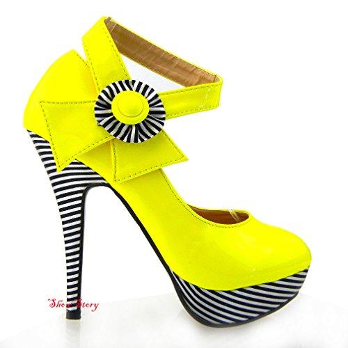 Show Story Sexy Yellow Flower Ankle Strap Stripe Platform Heels,LF30404YL38,7US,Yellow (Patent Ankle Strap Platform)