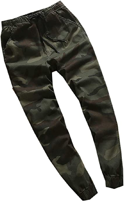 AngelSpace Men's Camouflage Color Waistband Stretchy Tapered Relaxed Cargo Pant