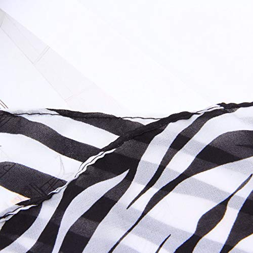 colore: bianco e nero Scialle lunghe in chiffon con stampa zebrata da donna stile estivo Ragazze scialle Cachecol Morbido e liscio al tatto con un tocco funky