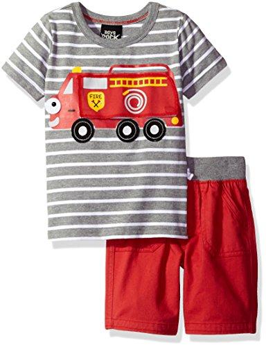 Boys Rock Baby - Juego de 2 Camiones Cortos para Chimenea, Gris/Rojo, 4 Años