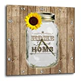 3dRose DPP_128555_3 Country Rustic Mason Jar with Sunflower Home Sweet Home Wall Clock, 15 by 15-Inch Review