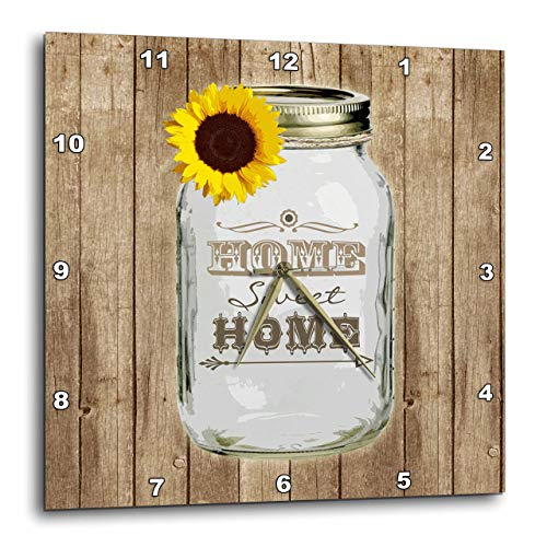 3dRose DPP_128555_3 Country Rustic Mason Jar with Sunflower Home Sweet Home Wall Clock, 15 by 15-Inch