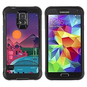 LASTONE PHONE CASE / Suave Silicona Caso Carcasa de Caucho Funda para Samsung Galaxy S5 SM-G900 / Modern Polygon Art Pattern Mountains