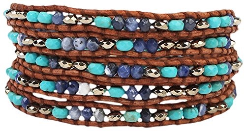 Chan Luu Turquoise, Pyrite and Sodalite Mix of Semi Precious Stones Brown Leather Wrap Bracelet