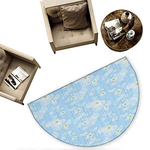 Winter Semicircular Cushion Cute Kids Baby Pattern Night Sky with Soft Colored Stars New Year Theme Entry Door Mat H 55.1'' xD 82.6'' Baby Blue Yellow White
