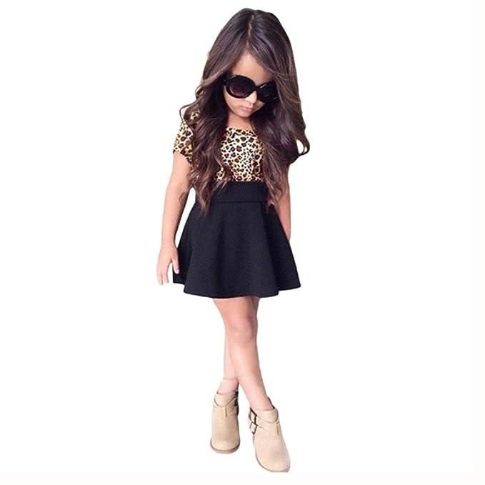 JERFER JERFER kurze ärmellose Kleid Kinder Baby Mädchen Leopard ...