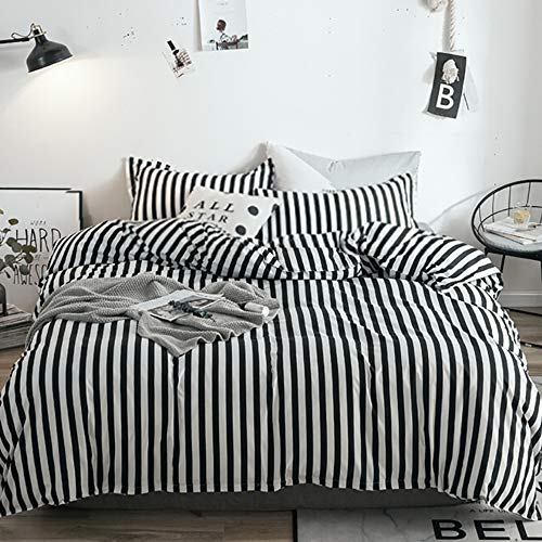 Halloween Bed Sheets (karever Black White Striped Duvet Cover Set Queen Kids Cotton Bedding Full Black Vertical Ticking Stripes Pattern Printed on White Comforter Cover Set for Boys Girls)