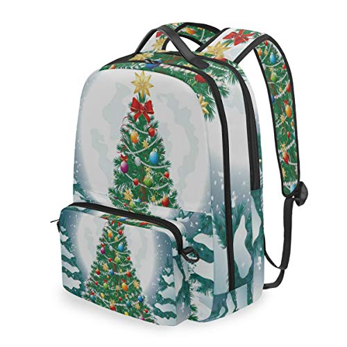 Laptop Backpack Christmas Tree Snow Full Moon Cosmetic Bag Pouch Detachable Back pack
