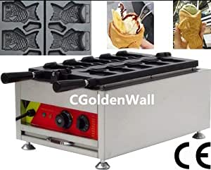 CGOLDENWALL 5pcs Fish Commercial Use Non-stick Electric Ice Cream Taiyaki Machine Waffle Maker Waffle Baker Machine Iron Mold Plate ( Fish Shape) 110V /220V CE Certificate