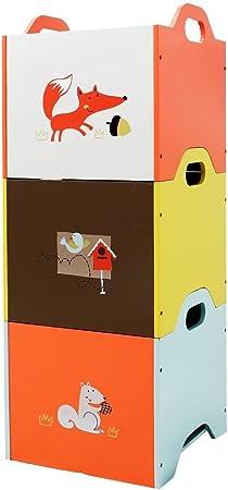Labebe Estante Madera, Naranja/Amarillo/Azul Zorro 3 Apilable Organizador Bebé, Caja de Almacenamiento Madera para Bebé, Niña y Niño, Caja Almacenaje/Organizador Infantil/Caja Almacenamiento Madera: Amazon.es: Hogar