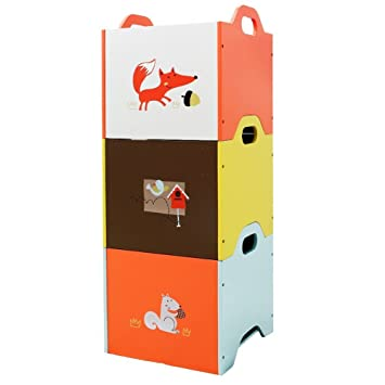 Labebe Wooden Toy Storage Bin, 3 Color Combined Stackable Fox Toy Bin,  Closed