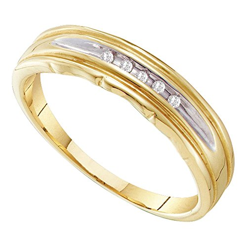 Two Tone Channel Set (10kt Yellow Two-tone Gold Mens Round Channel-set Diamond Wedding Band 1/20 Cttw)