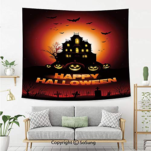Halloween Wall Tapestry,Happy Halloween Haunted House Flying Bats Scary Looking Pumpkins Cemetery Decorative,Bedroom Living Room Dorm Wall Hanging,92X70 Inches,Black Orange Red -