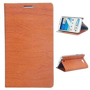 Mzamzi - Gran valor alta tecnología prensado en caliente funda protectora de cuero pu con wood lines para samsung n7100 brown