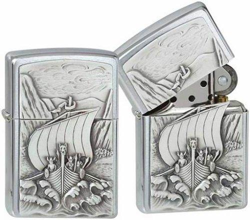 (Zippo 1300093 No.200 Viking Fjord Emblem Cigarette Lighter)