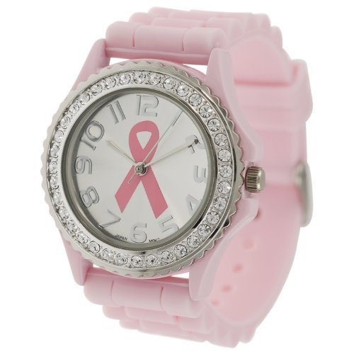 Awareness Rhinestone Watch (Pink Ribbon Geneva Crystal Rhinestone Breast Cancer Awareness Silicone Rubber Jelly Watch)